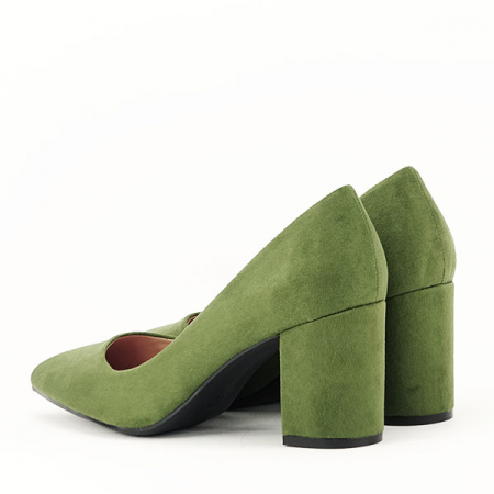 Pantofi verzi cu toc gros Adelina4