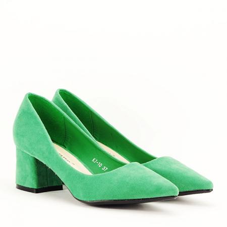Pantofi verzi cu toc mic Cristina3