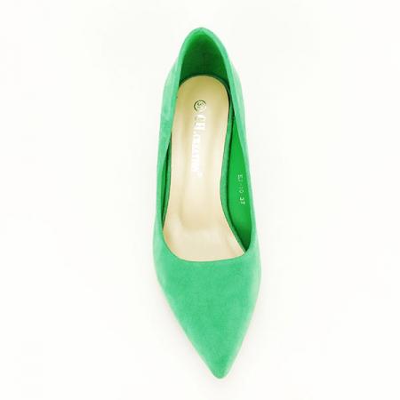 Pantofi verzi cu toc mic Cristina1
