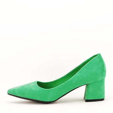 Pantofi verzi cu toc mic Cristina0