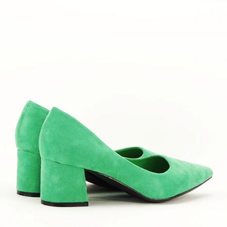Pantofi verzi cu toc mic Cristina5