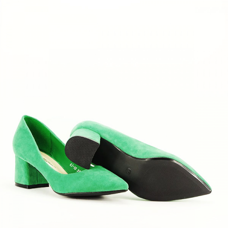 Pantofi verzi cu toc mic Cristina7