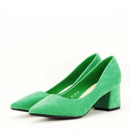 Pantofi verzi cu toc mic Cristina2