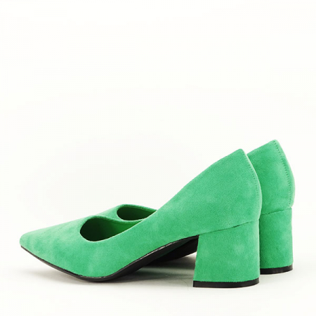 Pantofi verzi cu toc mic Cristina4