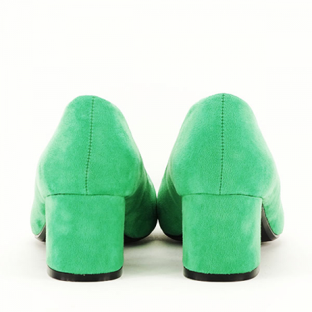 Pantofi verzi cu toc mic Cristina6