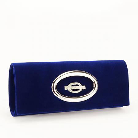 Plic albastru inchis din catifea Gloria [0]