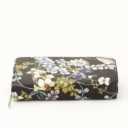 Portofel negru cu imprimeu floral Coralia [3]