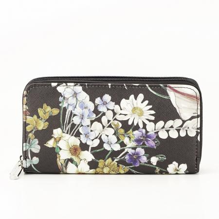 Portofel negru cu imprimeu floral Coralia [4]