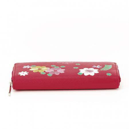 Portofel rosu cu flori Ana5