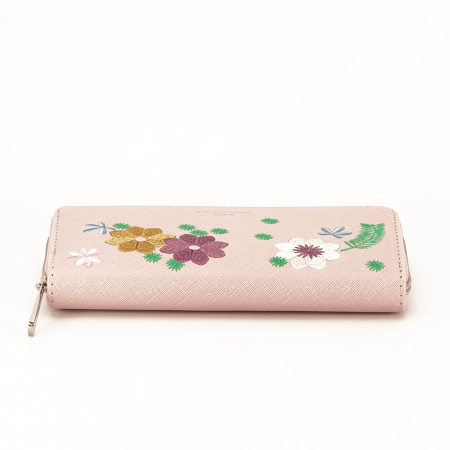 Portofel roz cu flori Ana5