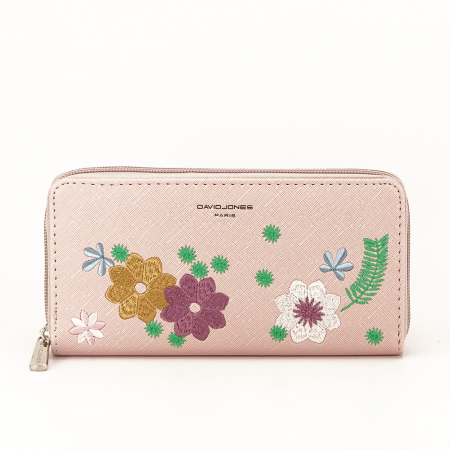 Portofel roz cu flori Ana0