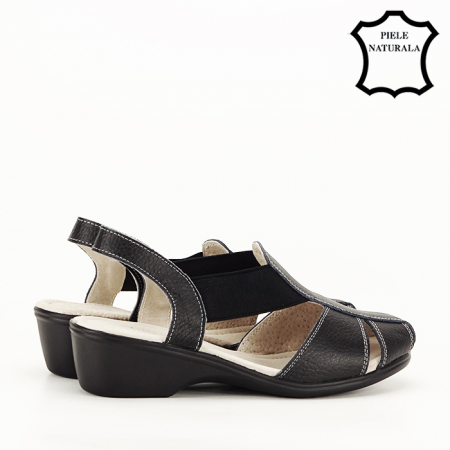 Sandale negre din piele naturala Codruta [4]