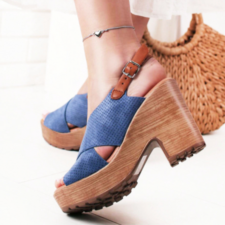 Sandale albastre cu platforma Annabel0