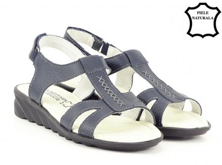 Sandale bleumarin din piele naturala Silvia2