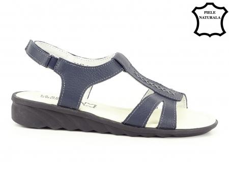 Sandale bleumarin din piele naturala Silvia1