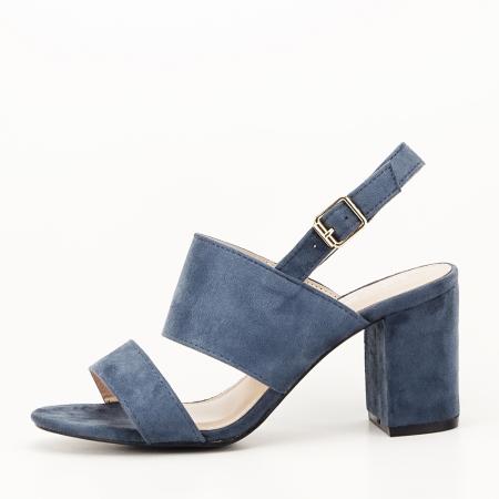 Sandale albastru petrol cu toc comod Paloma1