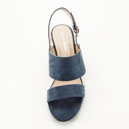 Sandale albastru petrol cu toc comod Paloma3