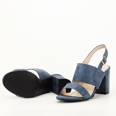 Sandale albastru petrol cu toc comod Paloma5