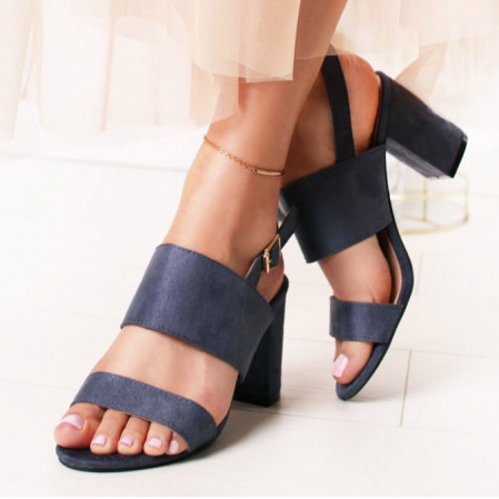 Sandale albastru petrol cu toc comod Paloma0