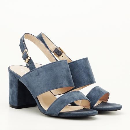 Sandale albastru petrol cu toc comod Paloma6