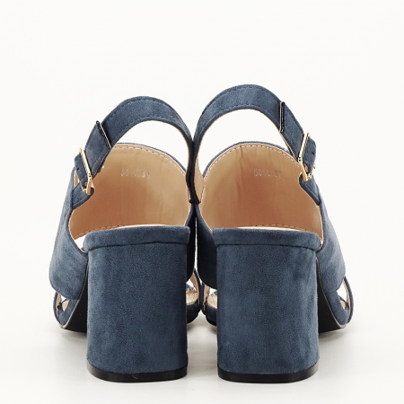 Sandale albastru petrol cu toc comod Paloma4