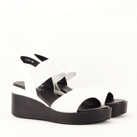 Sandale albe cu platforma Beth4