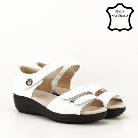 Sandale albe din piele naturala Agata [5]