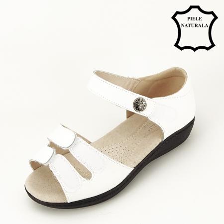 Sandale albe din piele naturala Agata [7]