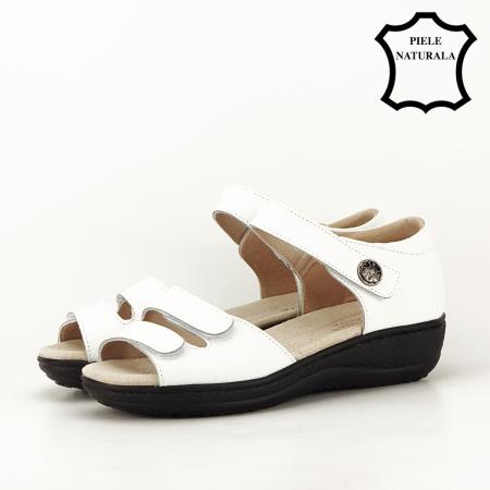 Sandale albe din piele naturala Agata [1]