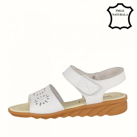 Sandale albe din piele naturala Catis1