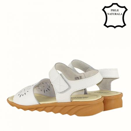 Sandale albe din piele naturala Catis2