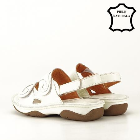 Sandale albe din piele naturala Florina [8]