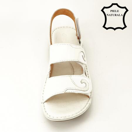 Sandale albe din piele naturala Florina [2]
