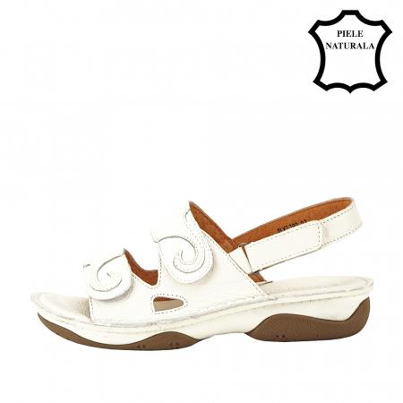 Sandale albe din piele naturala Florina [1]