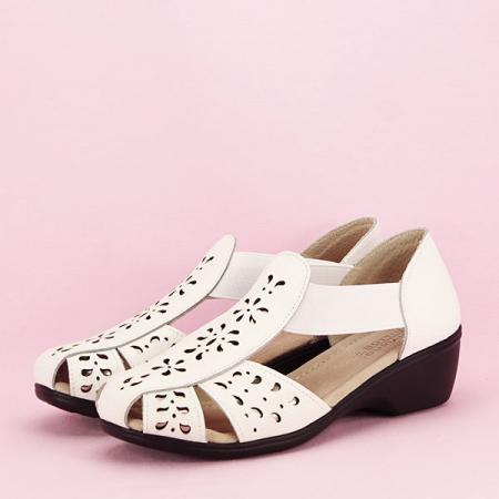 Sandale albe din piele naturala Ozana [1]