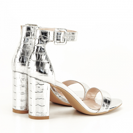 Sandale argintii cu imprimeu reptila Miruna [2]