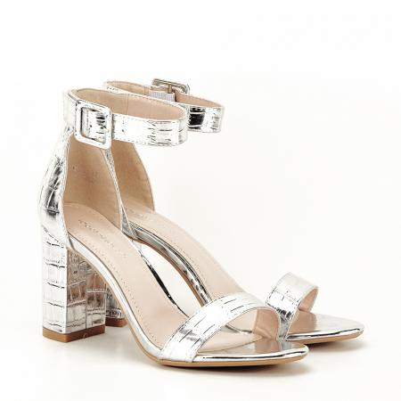 Sandale argintii cu imprimeu reptila Miruna [5]