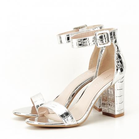Sandale argintii cu imprimeu reptila Miruna [1]