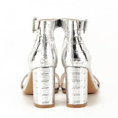 Sandale argintii cu imprimeu reptila Miruna [4]