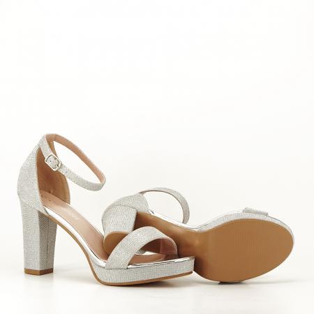 Sandale argintii cu toc gros Celin [4]