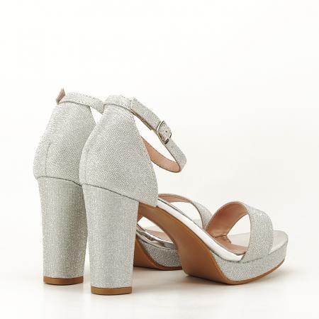 Sandale argintii cu toc gros Celin [5]