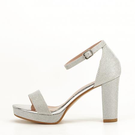 Sandale argintii cu toc gros Celin [0]