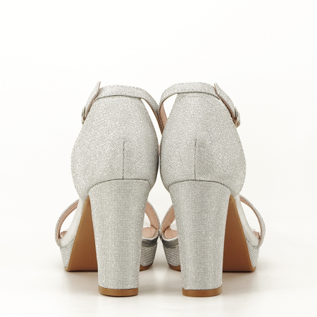 Sandale argintii cu toc gros Celin [6]