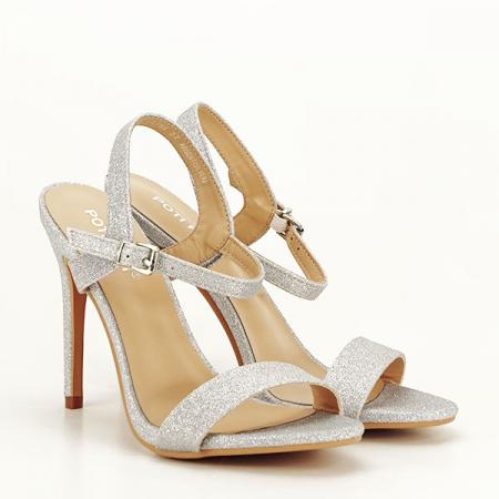 Sandale argintii cu toc inalt Mia [2]