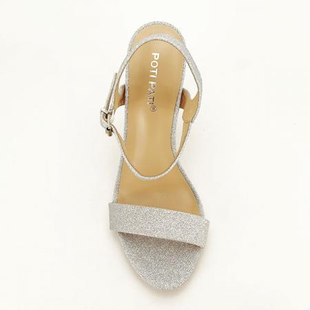 Sandale argintii cu toc inalt Mia [1]