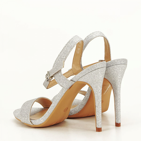 Sandale argintii cu toc inalt Mia [3]