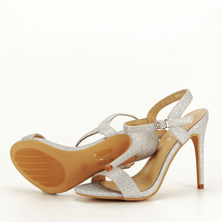 Sandale argintii cu toc inalt Mia [7]