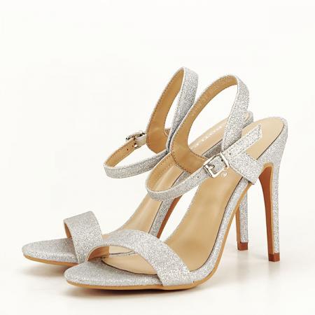 Sandale argintii cu toc inalt Mia [0]