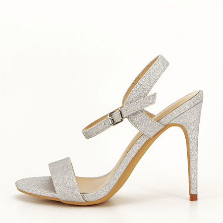 Sandale argintii cu toc inalt Mia [6]