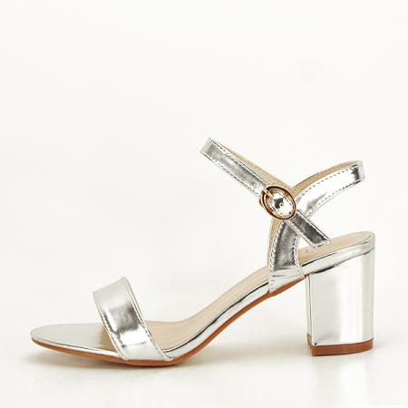 Sandale argintii cu toc Mira [0]